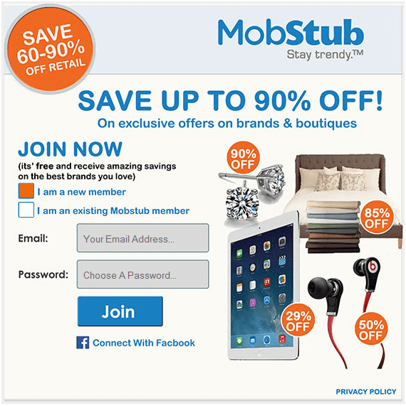 MobStub.com - Online shopping, daily deals and coupons from United States