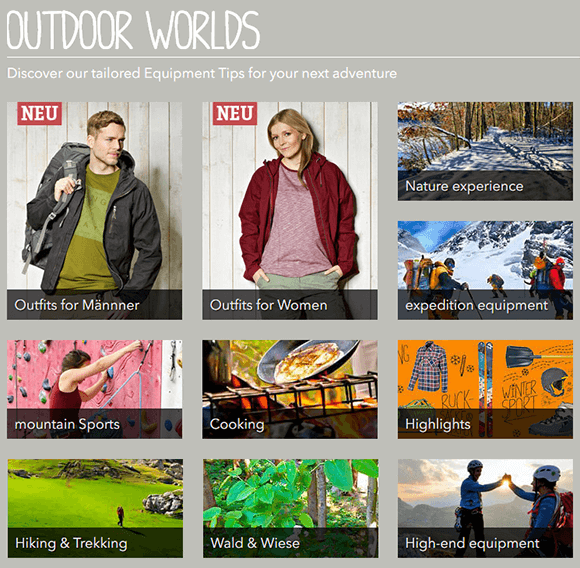 Outdoor equipment and gear store from Germany