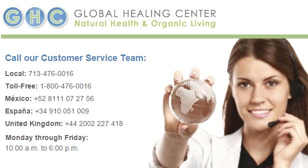 Global Healing Center - customer support banner