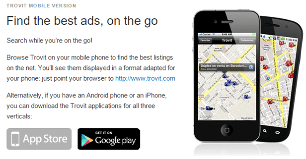 Trovit.com - A search engine for classified ads of real estate, jobs, cars and vacation rentals