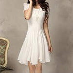Fashion Street - Short-Sleeved Chiffon Dress