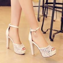 Pastel Pairs - Lace Platform Heel Sandals